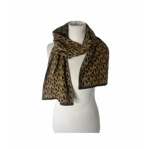 ~Michael kors extra wide logo patern brown scarf